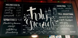 Holy Grounds sign