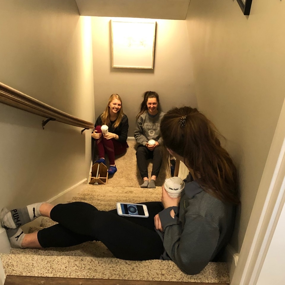 BC student Hannah Meyers visits them from the top of the stairs